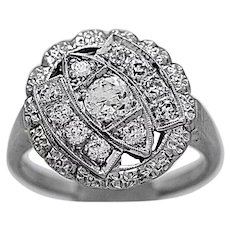 Art Deco .25ct. Diamond Antique Engagement - Fashion Ring White Gold