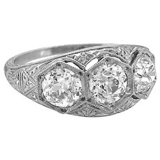 Diamond 3-stone Antique Engagement Ring 1.85ct. T.W. Art Deco Platinum