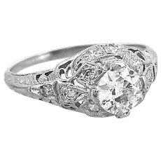 .50ct. Diamond Antique Engagement Ring Platinum