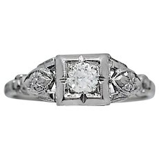 Art Deco Antique Engagement Ring .25ct. 18k White Gold