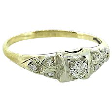 Art Deco .10ct. Diamond Engagement Ring White & Yellow Gold