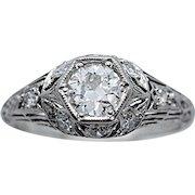 Art Deco .42ct. Diamond Antique Engagement Ring Platinum