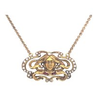 Art Nouveau Seed Pearl, Ruby & Diamond Antique Necklace Yellow Gold - J36602