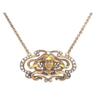 Art Nouveau Pendant Seed Pearl, Ruby & Diamond Yellow Gold