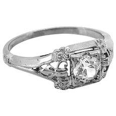 Art Deco .33ct. Diamond Antique Engagement Ring 18K White Gold