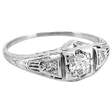 .23ct. Diamond Art Deco Antique Engagement Ring Platinum