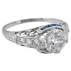Art Deco .90ct. Diamond & .20ct. T.W. Sapphire Antique Engagement Ring Platinum