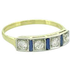 Art Deco .25ct. T.W. Diamond & Sapphire Antique Engagement - Fashion Ring Platinum & 18K Yellow Gold