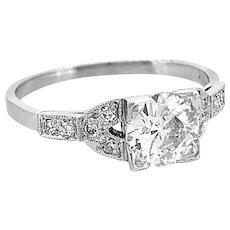 .98ct. Diamond Antique Engagement Ring Platinum