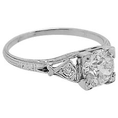 Antique .85ct. Engagement Ring 18k White Gold