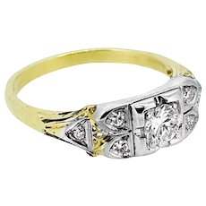 Art Deco .25ct. Diamond Antique Engagement Ring Yellow Gold