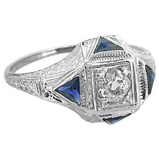 .25ct. Diamond & Sapphire Antique Engagement - Fashion Ring 18K White Gold