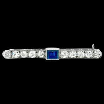 Art Deco .63ct. Sapphire & Diamond Bar Pin 18K White Gold