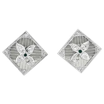 .66ct. T.W. Diamond and Onyx Antique Earrings Platinum