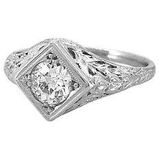 .40ct. Diamond Antique Engagement Ring Platinum