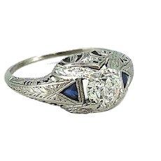 Antique .55ct. Diamond & Sapphire Engagement Ring Platinum