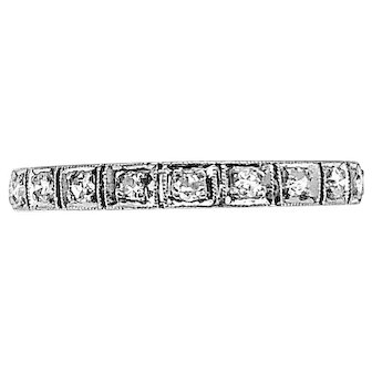 Art Deco .50ct. T.W. Diamond Antique Eternity Band Platinum