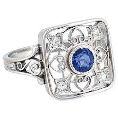.33ct. Sapphire & Diamond Antique Engagement - Fashion Ring Platinum
