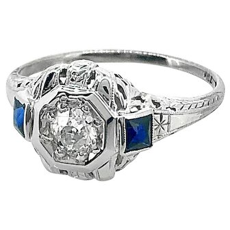 Art Deco .25ct. Diamond & Sapphire Antique Engagement Ring 18K White Gold