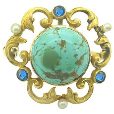 12mm Turquoise .20ct. T.W. Sapphire & Seed Pearl Arts & Crafts Pin - Watch Pin Yellow Gold - J36867