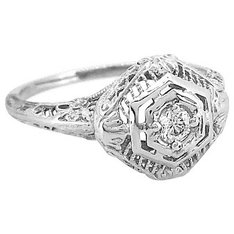 .10ct. Diamond Antique Engagement - Fashion Ring 18K White Gold