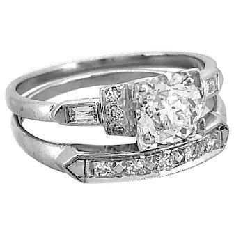 Art Deco .75ct. Diamond Antique Wedding Set Platinum