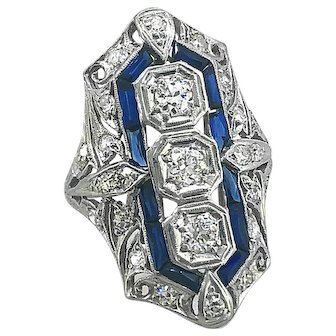 Antique 1.00ct. T.W. Diamond & 1.50ct. T.W. Sapphire Engagement - Fashion Ring Platinum