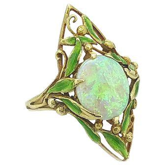 Art Nouveau 1.33ct. Opal and Enamel Antique Fashion Ring by Delurret 18K Yellow Gold