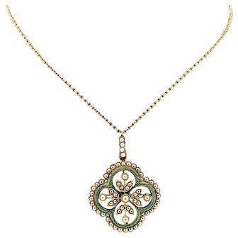 Seed Pearl & Enamel Victorian Antique Brooch - Necklace Yellow Gold