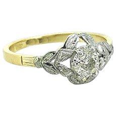 Art Deco .33ct. Diamond Antique Engagement Ring Platinum & 18K Yellow Gold