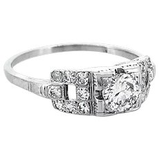 Antique .33ct. Diamond Engagement Ring 18K White Gold