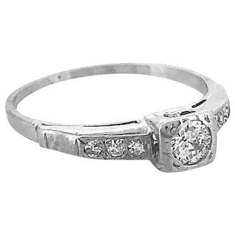 Art Deco .18ct. Diamond Antique Engagement Ring White Gold