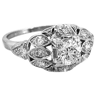 .45ct. Diamond Antique Art Deco Engagement Ring Platinum