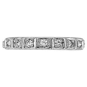 Art Deco .15ct. T.W. Diamond Antique Anniversary Band 18K White Gold