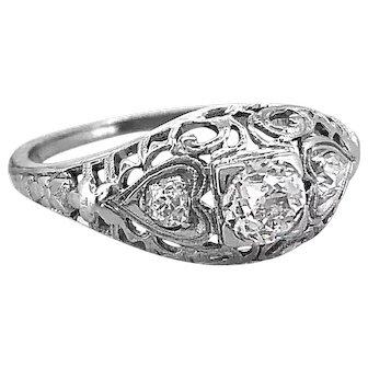 Art Deco .35ct. Diamond Antique Engagement Ring 18K White Gold