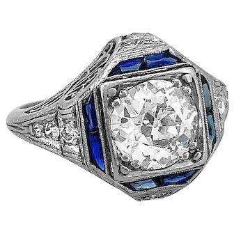 1.30ct. Diamond & Sapphire Antique Engagement Ring Platinum