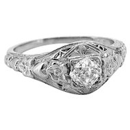 Edwardian Diamond Antique Engagement Ring .40ct. Diamond 18K White Gold - J36933
