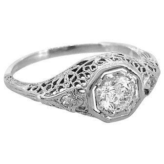 Art Deco .41ct. Diamond Antique Engagement Ring 18K White Gold