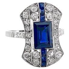 2.15ct. T.W. Sapphire & Diamond Antique Engagement - Fashion Ring Platinum