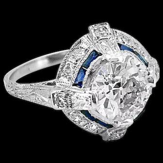 Platinum Art Deco 1.65ct. Diamond and Sapphire Antique Engagement Ring - J36944