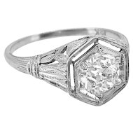 Late Edwardian Diamond Antique Engagement Ring .95ct. 18K White Gold - J36976