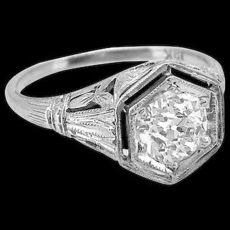 Late Edwardian Diamond Antique Engagement Ring .95ct. 18K White Gold - J36976