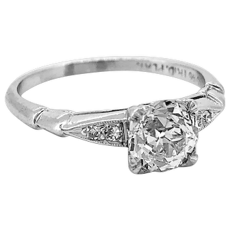 .85ct. Diamond Art Deco Antique Engagement Ring Platinum - J36981