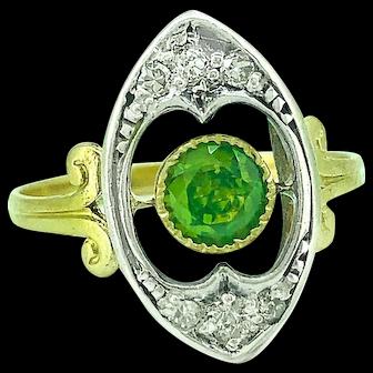Antique Demantoid Garnet - Diamond Fashion Ring .60ct. 18K Yellow Gold & Silver Edwardian - J36983