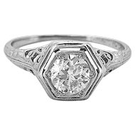 .55ct. Diamond Edwardian Diamond Antique Engagement Ring Platinum - J36999