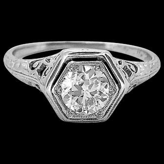 .55ct. Diamond Edwardian Diamond Antique Engagement Ring Platinum - J36999