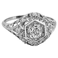 Edwardian .60ct. Diamond & Platinum Antique Engagement Ring
