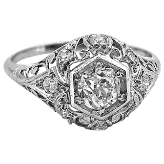 Edwardian .60ct. Diamond & Platinum Antique Engagement Ring