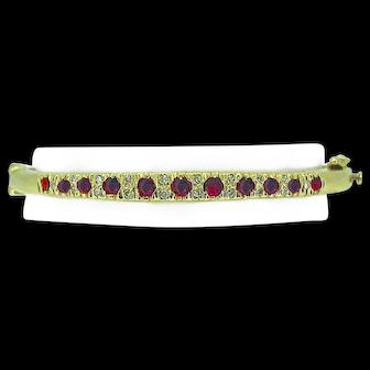 2.00ct. T.W. Ruby & .50ct. T.W. Diamond Antique Bangle Bracelet Yellow Gold Edwardian - J37026