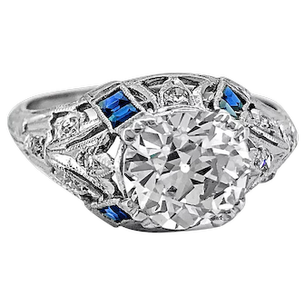 Art Deco 1.74ct. Diamond & Sapphire Antique Engagement Ring Platinum - J37028
